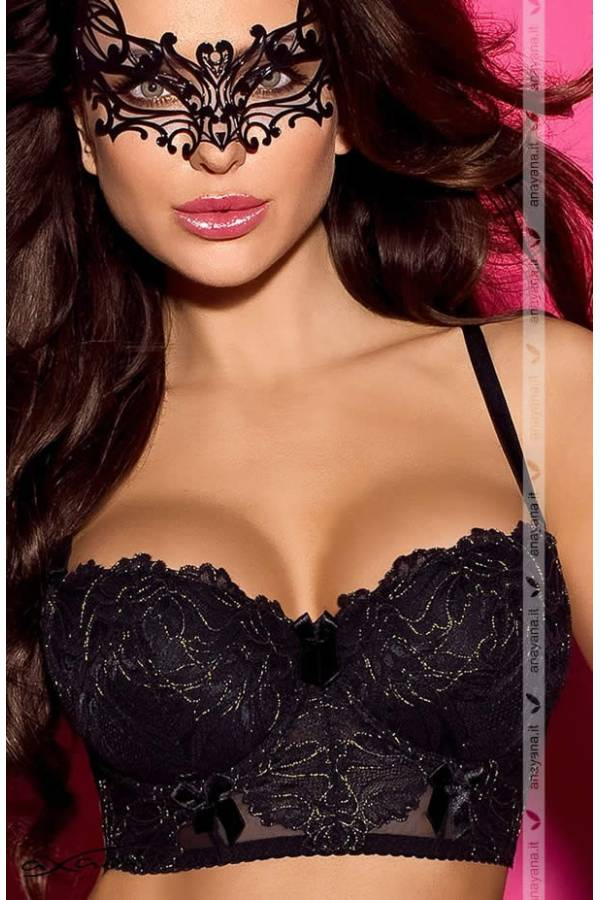 Reggiseno Balconcino Push Up semi Corsetto con Coppe differenziate Dorado nero e oro