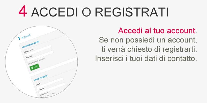Guida all'acquisto Step 4 Accedi o registrati